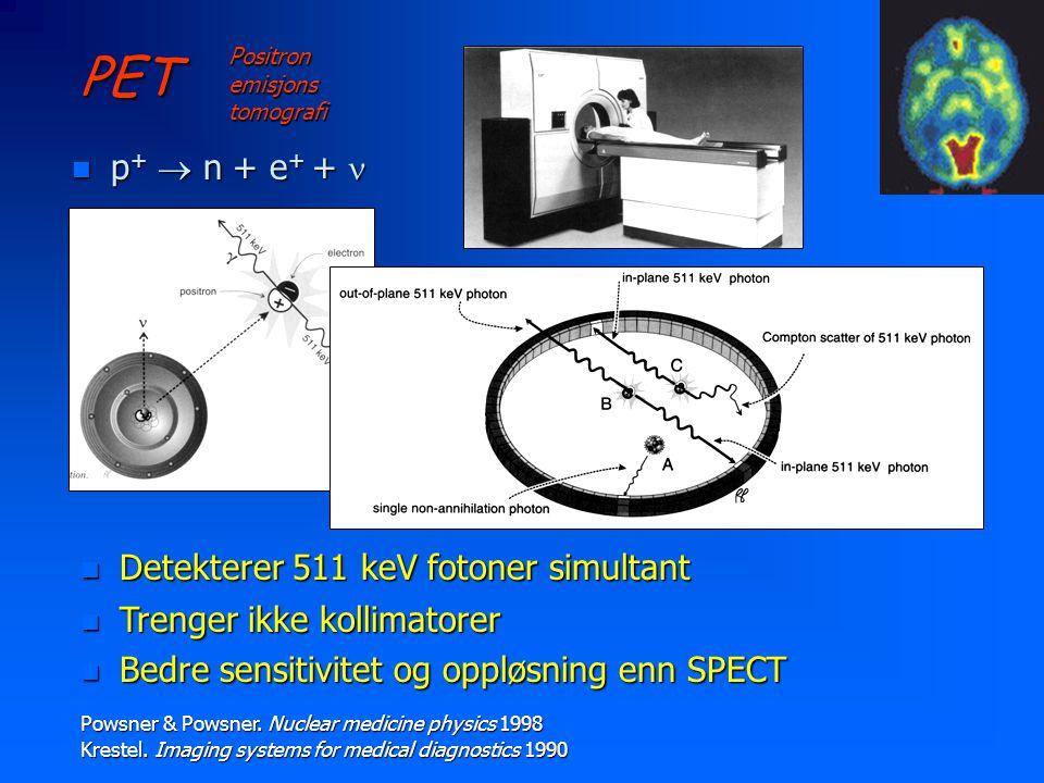 PET p+  n + e+ +  Detekterer 511 keV fotoner simultant