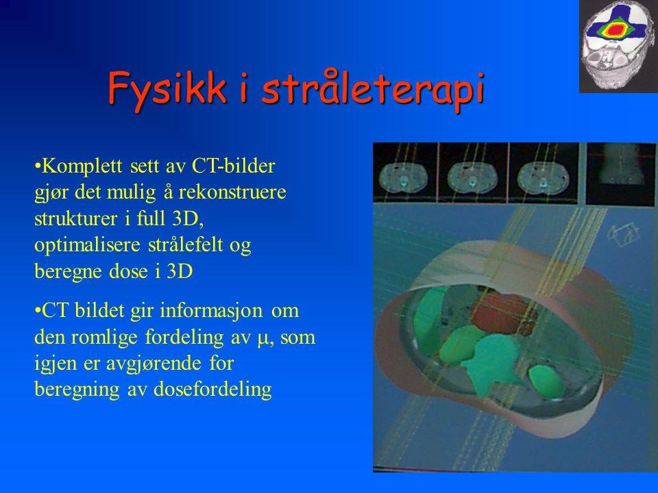 Fysikk i stråleterapi Komplett sett av CT-bilder gjør det mulig å rekonstruere strukturer i full 3D, optimalisere strålefelt og beregne dose i 3D.