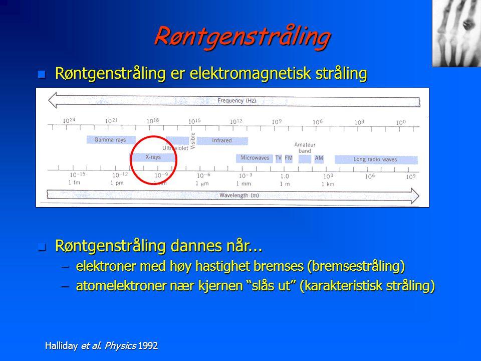 Røntgenstråling Røntgenstråling er elektromagnetisk stråling