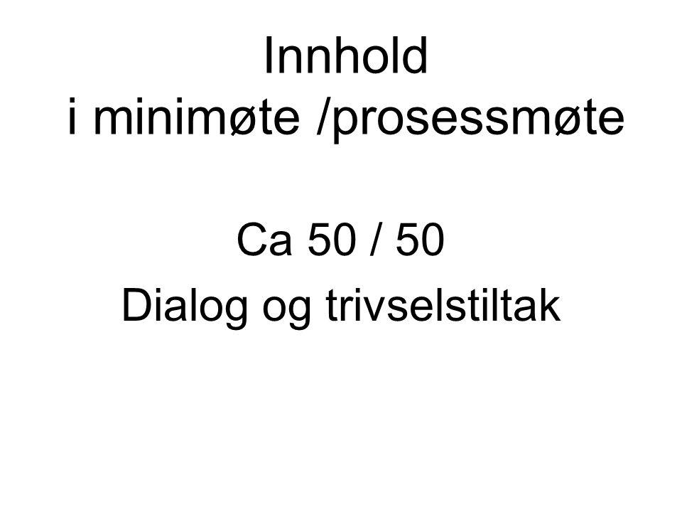 Innhold i minimøte /prosessmøte