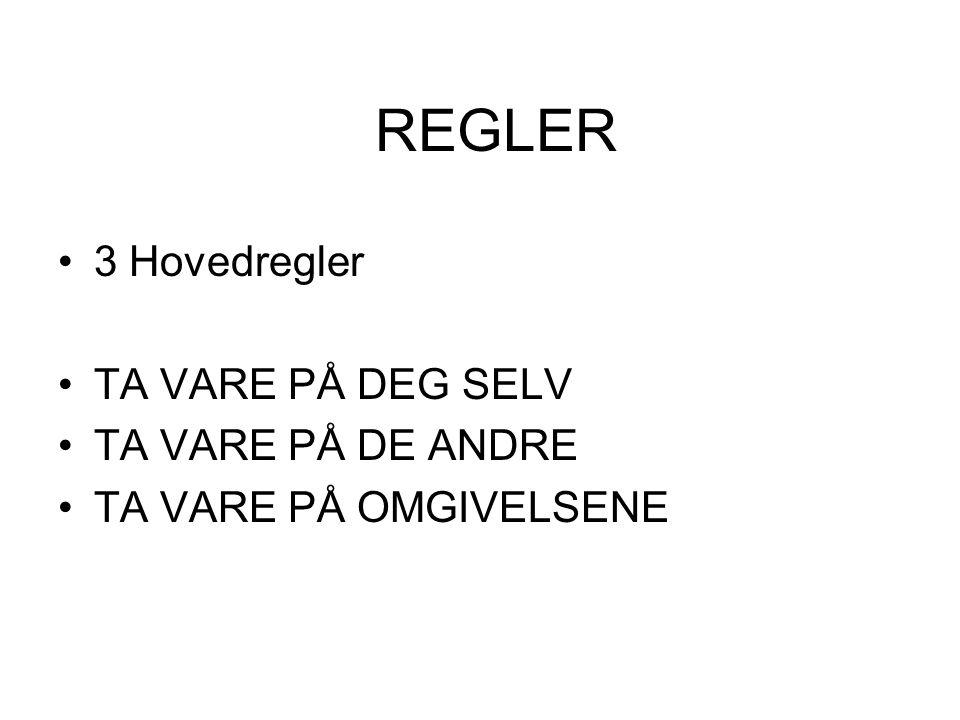 REGLER 3 Hovedregler TA VARE PÅ DEG SELV TA VARE PÅ DE ANDRE