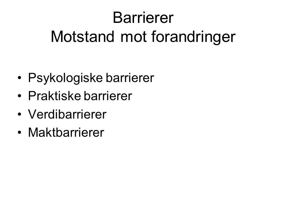 Barrierer Motstand mot forandringer