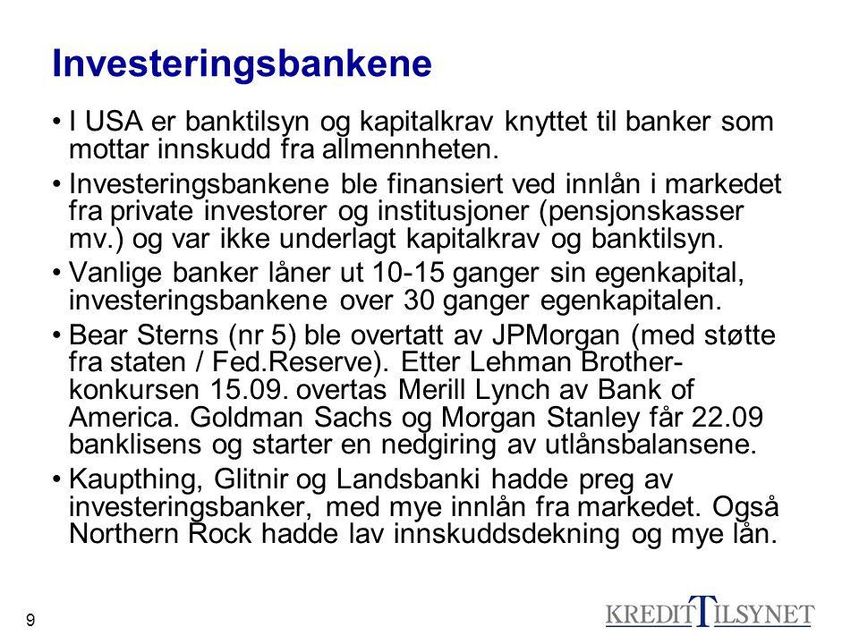 Investeringsbankene I USA er banktilsyn og kapitalkrav knyttet til banker som mottar innskudd fra allmennheten.