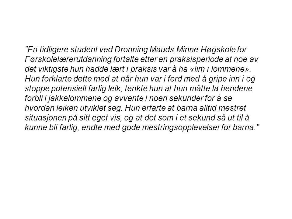 En tidligere student ved Dronning Mauds Minne Høgskole for Førskolelærerutdanning fortalte etter en praksisperiode at noe av det viktigste hun hadde lært i praksis var å ha «lim i lommene».