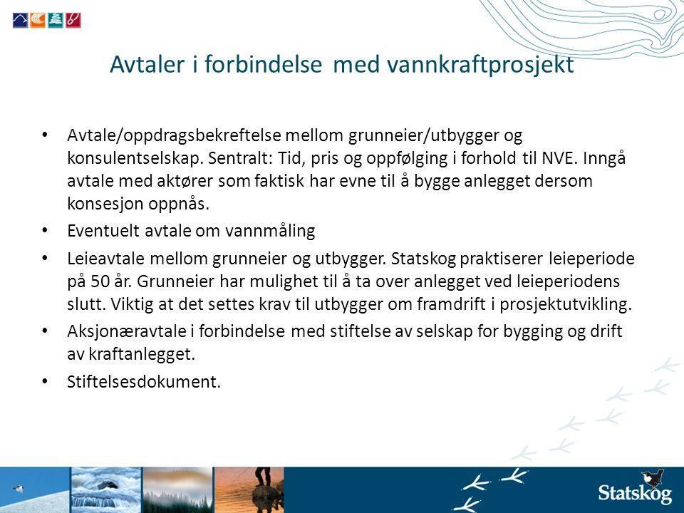 Avtaler i forbindelse med vannkraftprosjekt