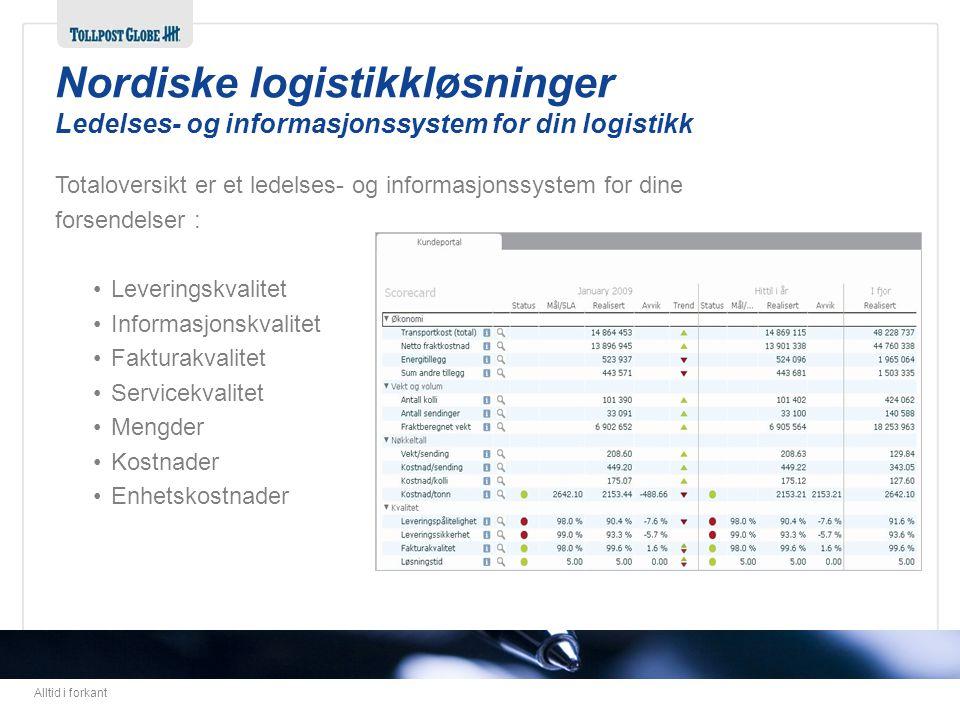 Nordiske logistikkløsninger Ledelses- og informasjonssystem for din logistikk