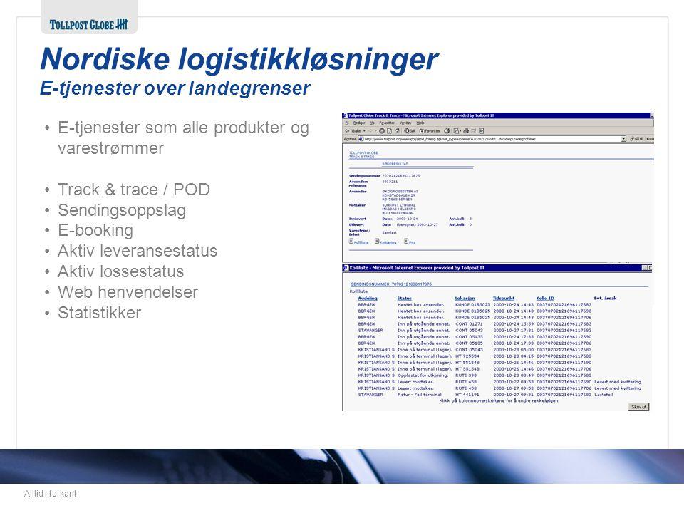 Nordiske logistikkløsninger E-tjenester over landegrenser