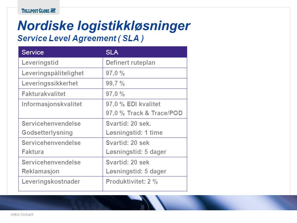 Nordiske logistikkløsninger Service Level Agreement ( SLA )