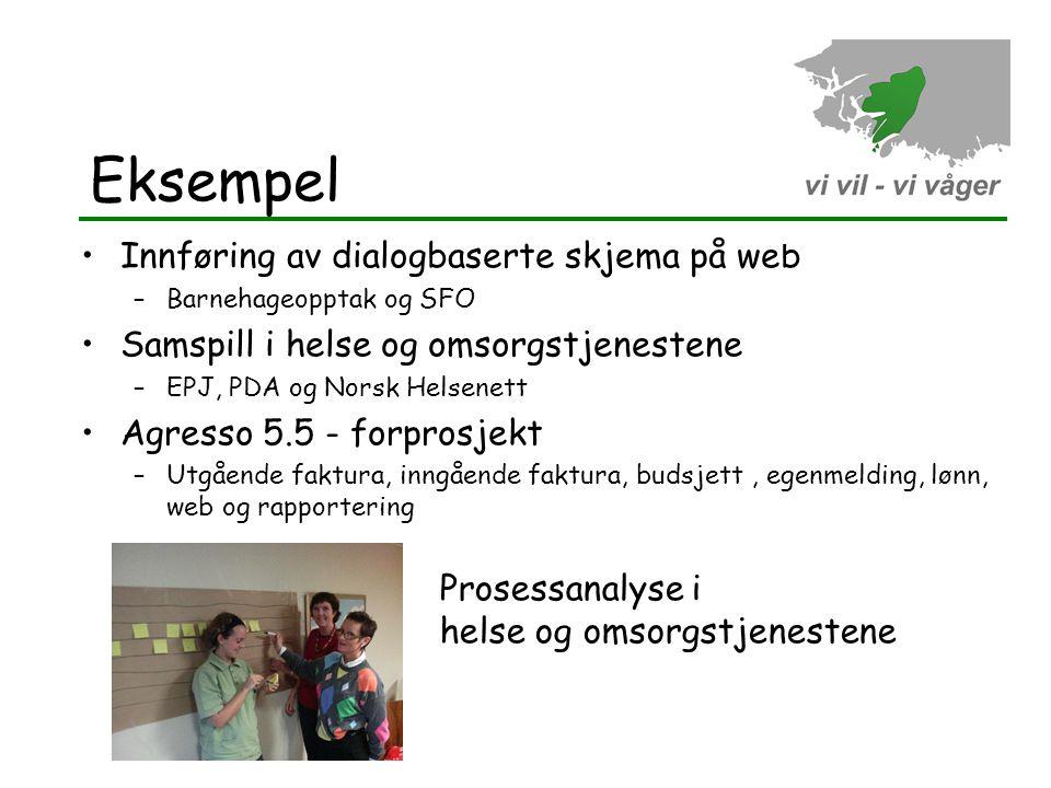 Eksempel Innføring av dialogbaserte skjema på web