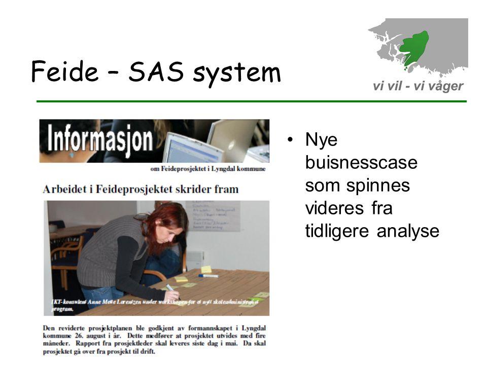 Feide – SAS system Nye buisnesscase som spinnes videres fra tidligere analyse 15