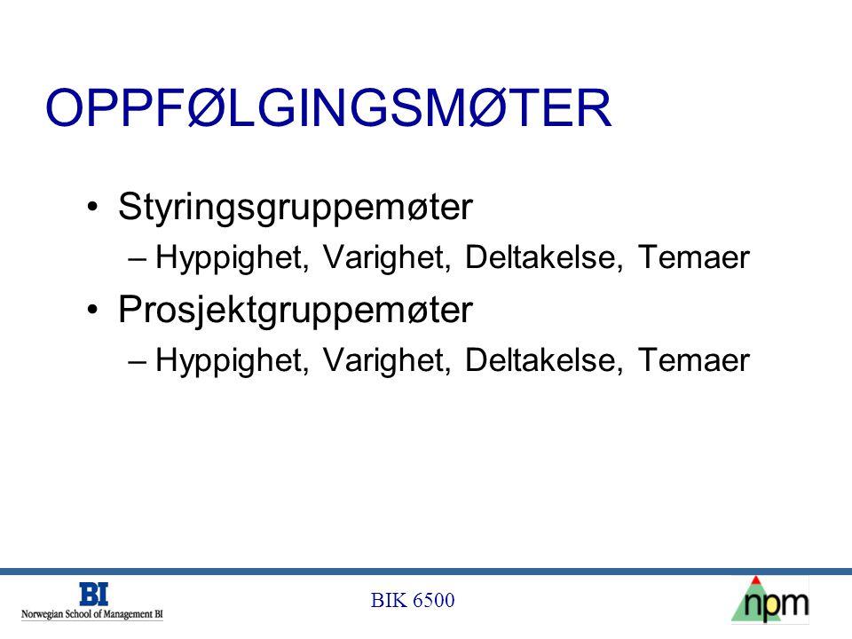 OPPFØLGINGSMØTER Styringsgruppemøter Prosjektgruppemøter