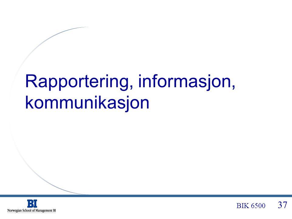 Rapportering, informasjon, kommunikasjon