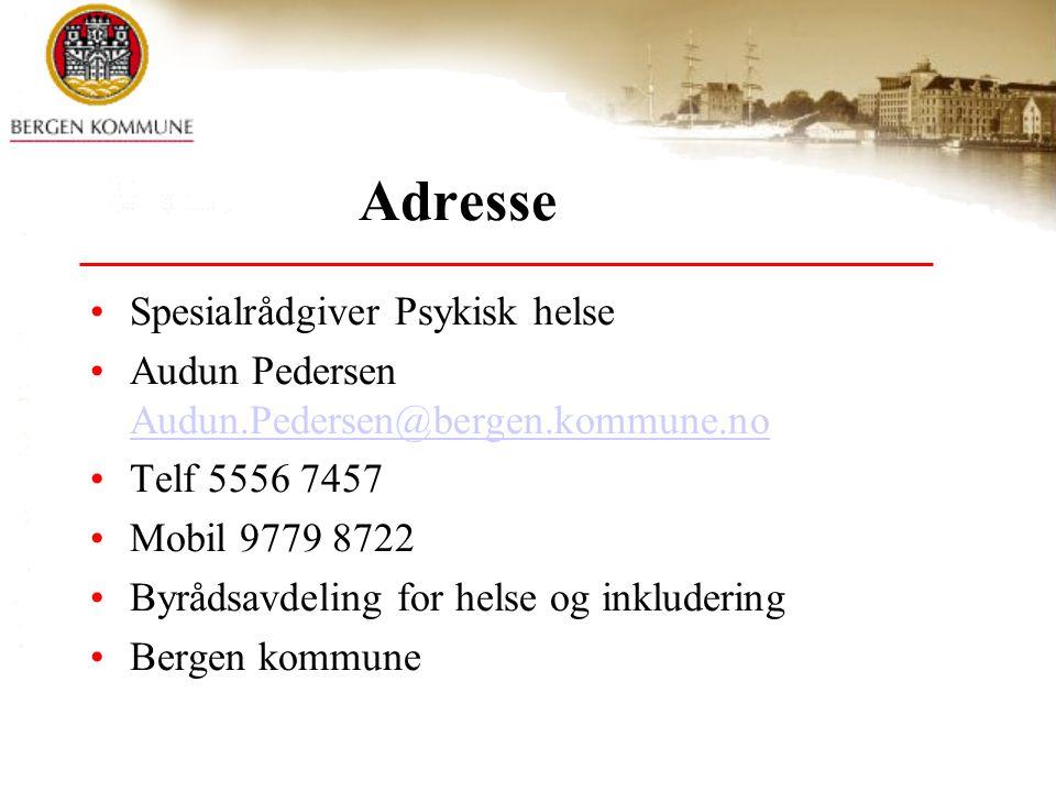 Adresse Spesialrådgiver Psykisk helse