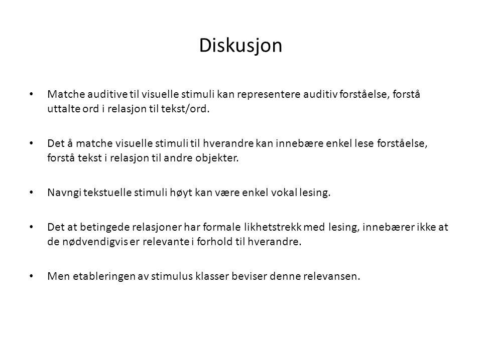 Diskusjon Matche auditive til visuelle stimuli kan representere auditiv forståelse, forstå uttalte ord i relasjon til tekst/ord.