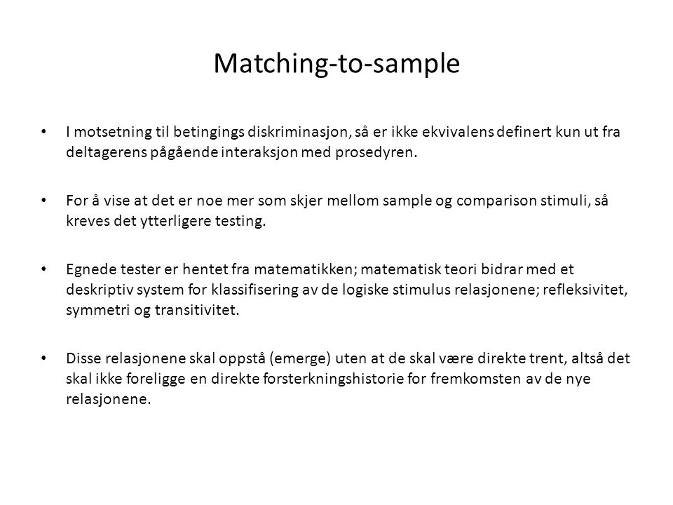 Matching-to-sample