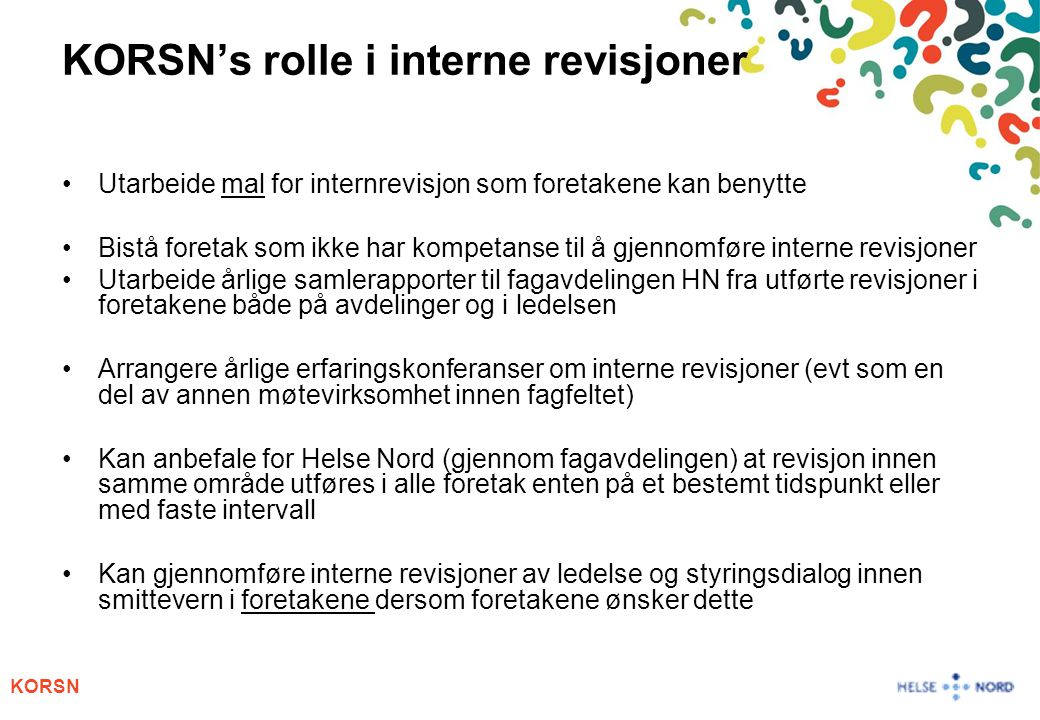 KORSN's rolle i interne revisjoner