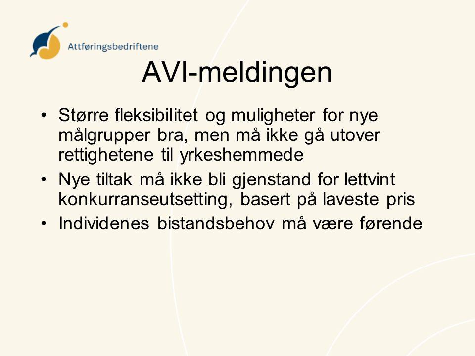 AVI-meldingen Større fleksibilitet og muligheter for nye målgrupper bra, men må ikke gå utover rettighetene til yrkeshemmede.