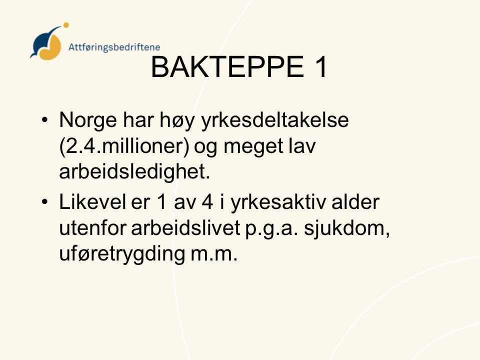 BAKTEPPE 1 Norge har høy yrkesdeltakelse (2.4.millioner) og meget lav arbeidsledighet.