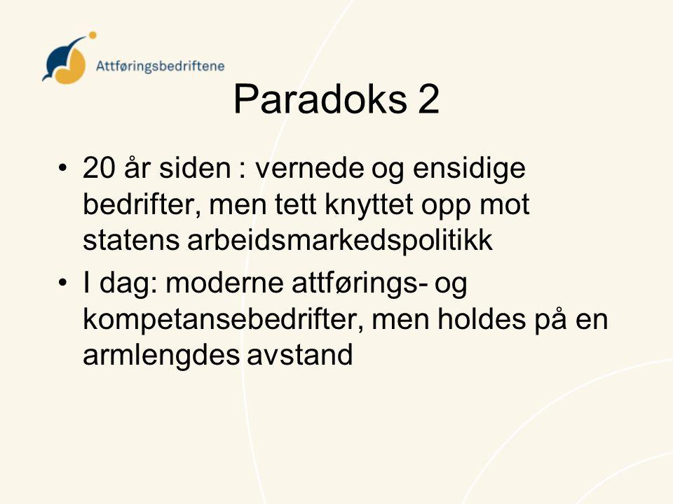 Paradoks 2 20 år siden : vernede og ensidige bedrifter, men tett knyttet opp mot statens arbeidsmarkedspolitikk.