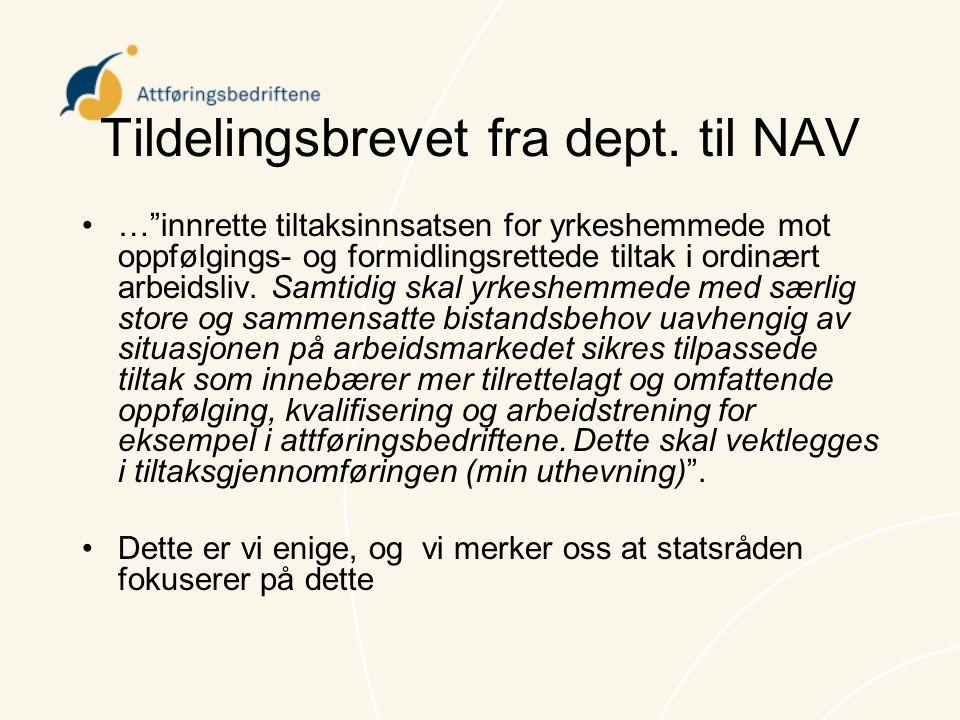 Tildelingsbrevet fra dept. til NAV