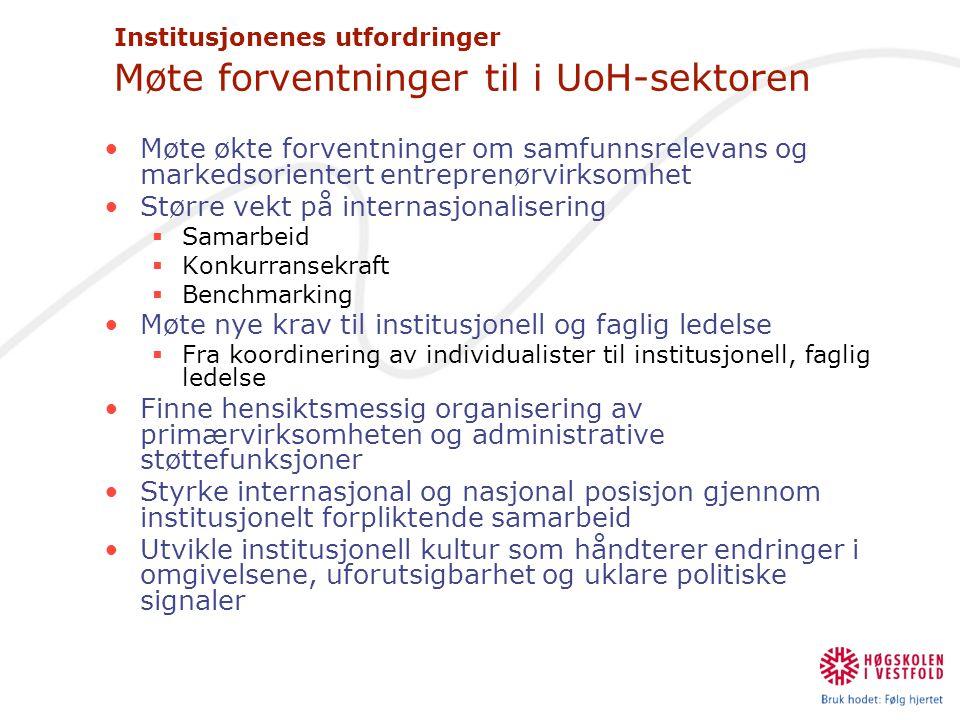 Institusjonenes utfordringer Møte forventninger til i UoH-sektoren