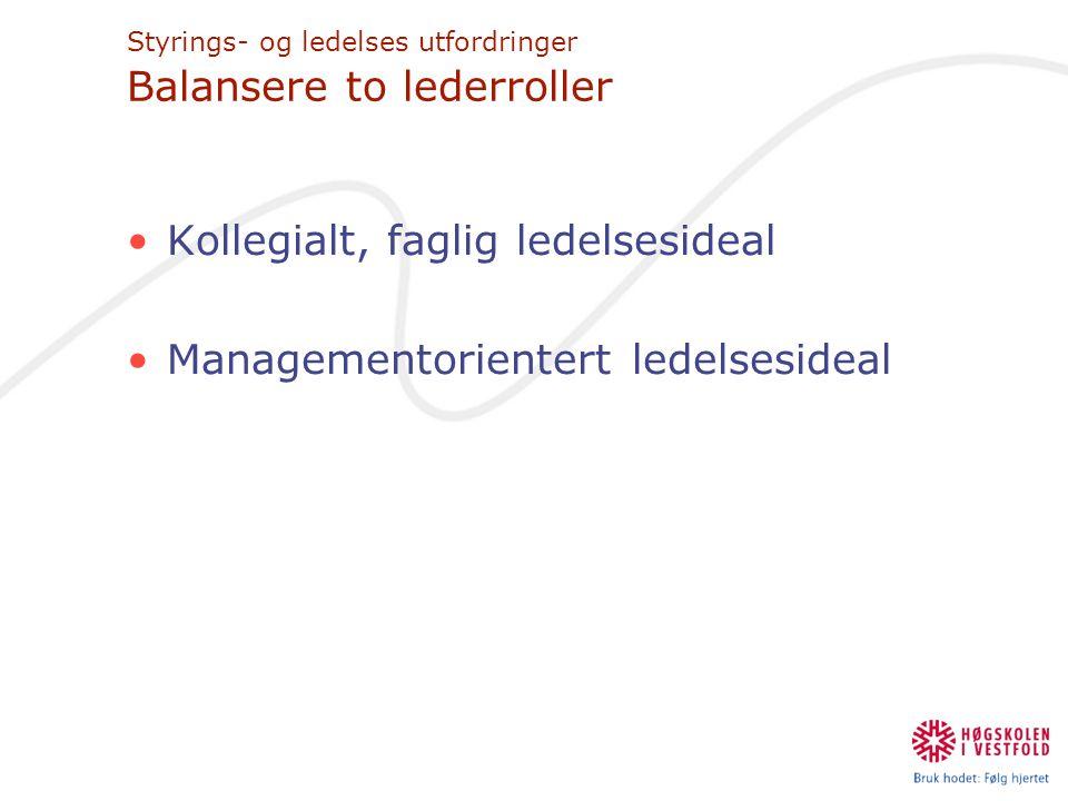 Styrings- og ledelses utfordringer Balansere to lederroller