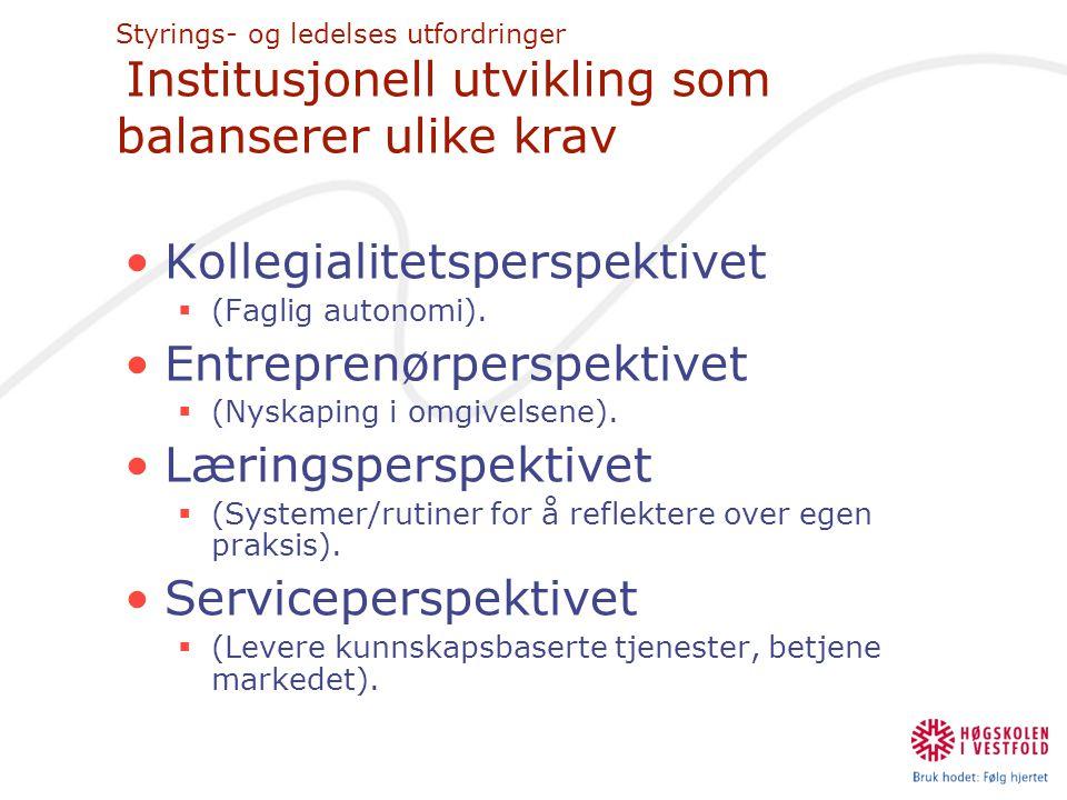 Kollegialitetsperspektivet Entreprenørperspektivet Læringsperspektivet