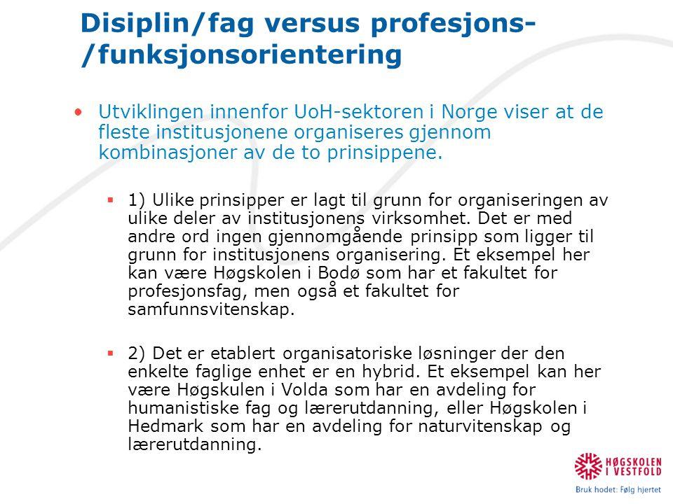 Disiplin/fag versus profesjons-/funksjonsorientering