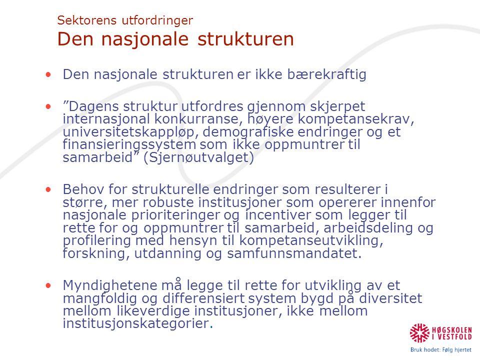 Sektorens utfordringer Den nasjonale strukturen