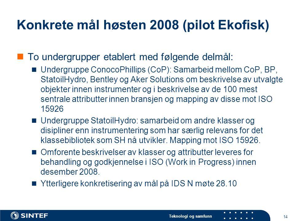 Konkrete mål høsten 2008 (pilot Ekofisk)