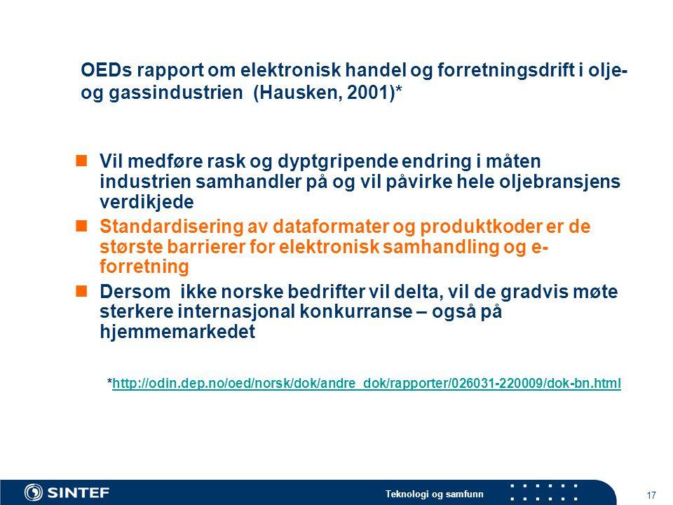 OEDs rapport om elektronisk handel og forretningsdrift i olje- og gassindustrien (Hausken, 2001)*