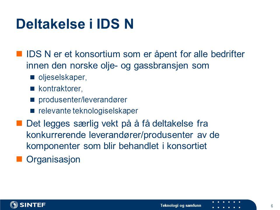 Deltakelse i IDS N IDS N er et konsortium som er åpent for alle bedrifter innen den norske olje- og gassbransjen som.