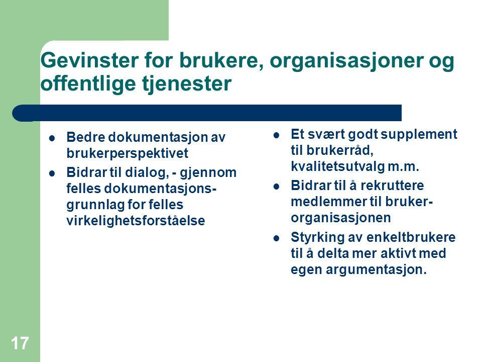 Gevinster for brukere, organisasjoner og offentlige tjenester