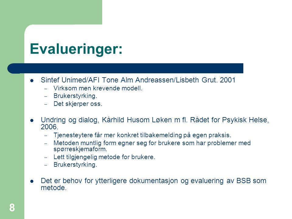 Evalueringer: Sintef Unimed/AFI Tone Alm Andreassen/Lisbeth Grut. 2001