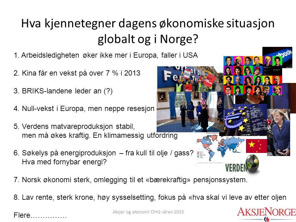 Hva kjennetegner dagens økonomiske situasjon globalt og i Norge
