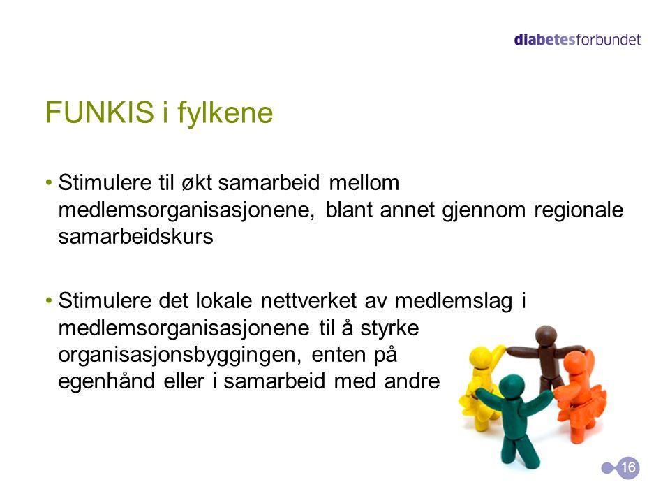 FUNKIS i fylkene Stimulere til økt samarbeid mellom medlemsorganisasjonene, blant annet gjennom regionale samarbeidskurs.