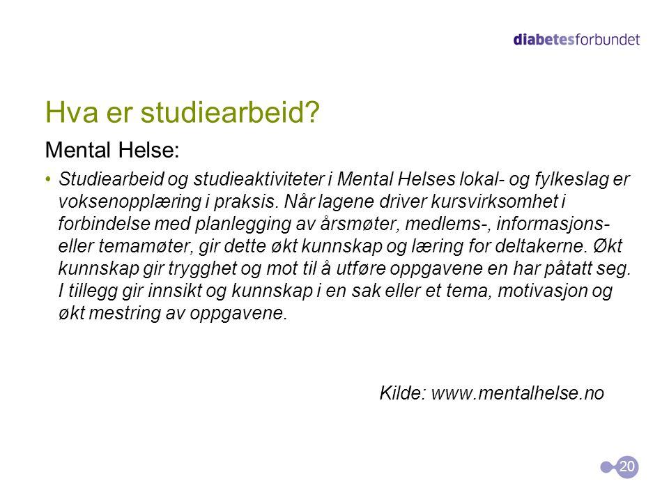 Hva er studiearbeid Mental Helse: