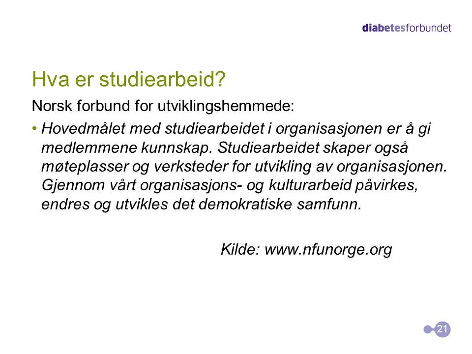 Hva er studiearbeid Norsk forbund for utviklingshemmede:
