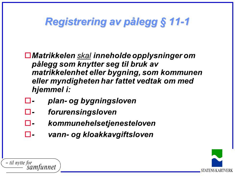 Registrering av pålegg § 11-1