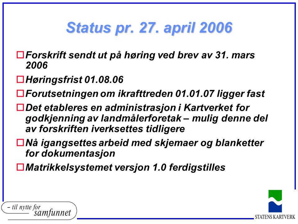 Status pr. 27. april 2006 Forskrift sendt ut på høring ved brev av 31. mars 2006. Høringsfrist 01.08.06.