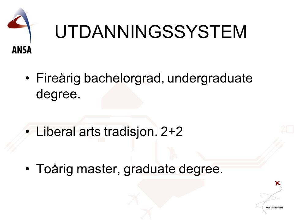 UTDANNINGSSYSTEM Fireårig bachelorgrad, undergraduate degree.