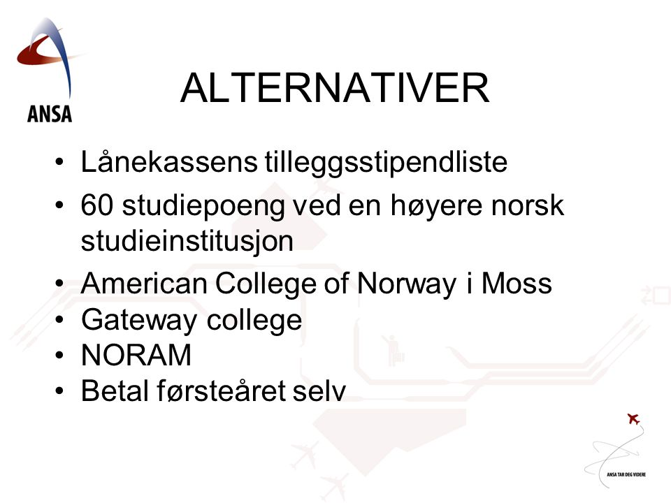 ALTERNATIVER Lånekassens tilleggsstipendliste