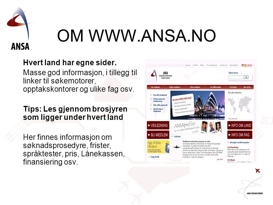 OM WWW.ANSA.NO Hvert land har egne sider.