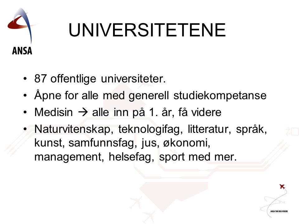UNIVERSITETENE 87 offentlige universiteter.
