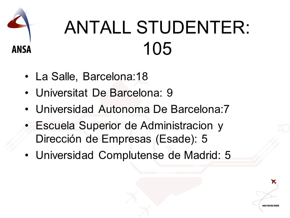 ANTALL STUDENTER: 105 La Salle, Barcelona:18