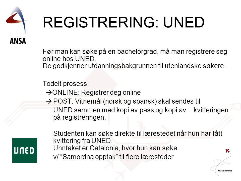REGISTRERING: UNED