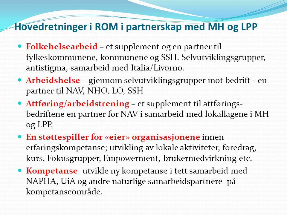 Hovedretninger i ROM i partnerskap med MH og LPP