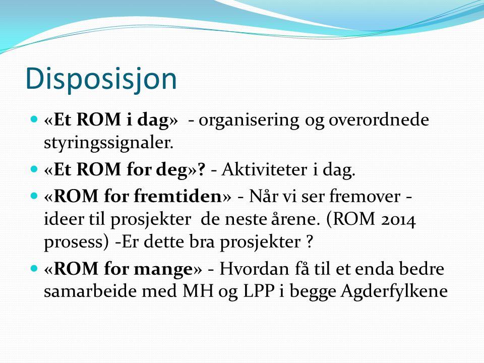 Disposisjon «Et ROM i dag» - organisering og overordnede styringssignaler. «Et ROM for deg» - Aktiviteter i dag.