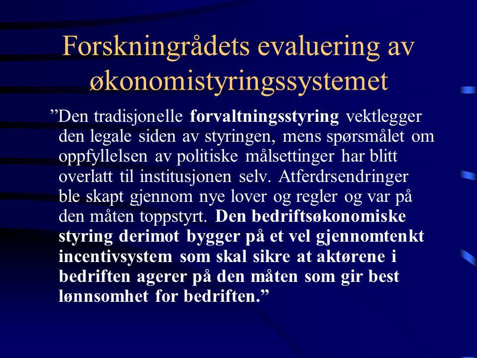 Forskningrådets evaluering av økonomistyringssystemet
