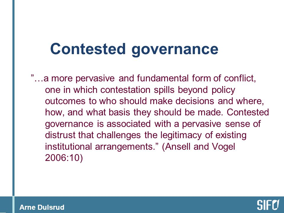 Contested governance